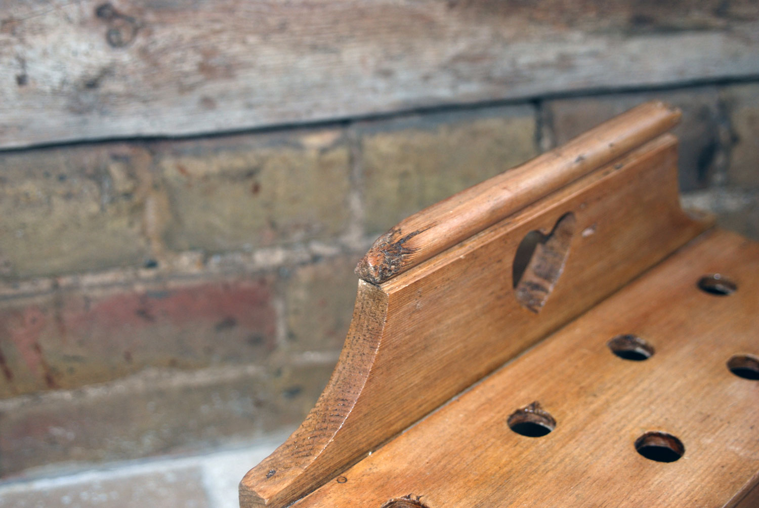 victorian antique pine welsh wooden treen cawl spoon rack
