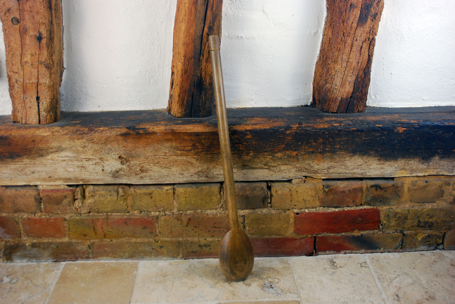 antique edwardian victorian huge extra long treen wooden spoon country house downton abbey