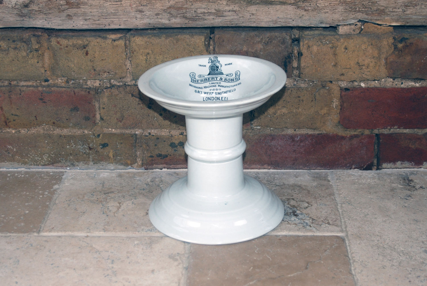edwardian white ironstone ham stand black transfer print justice strength herbert sons smithfield makers mark