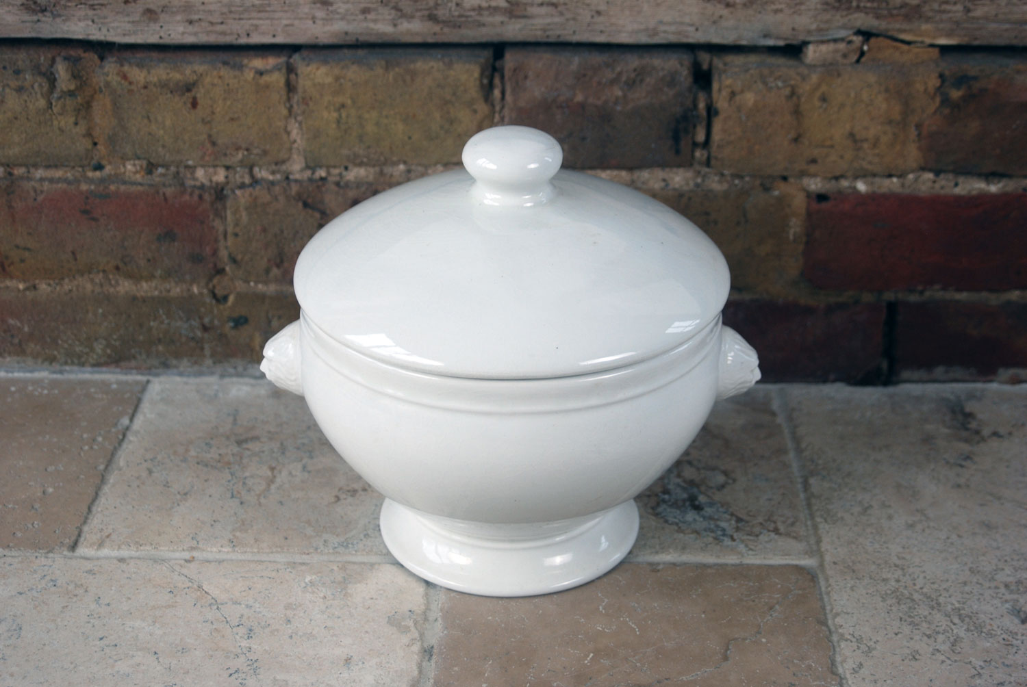 antique french white ironstone large soupiere tureen