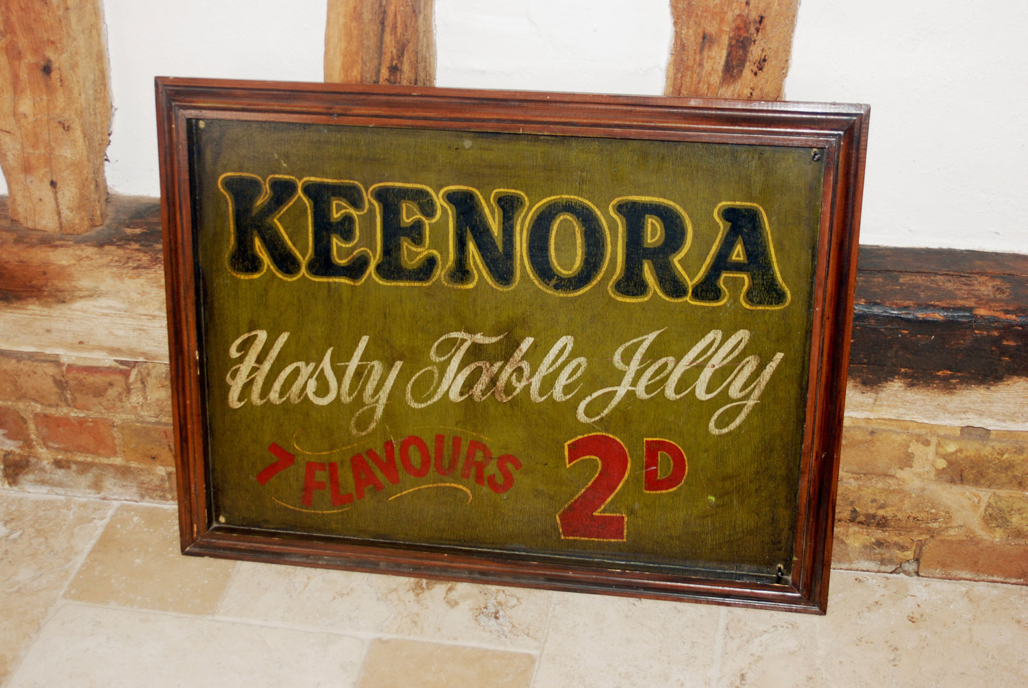 rare edwardian antique grocers shop display advertising painted sign keenora jelly