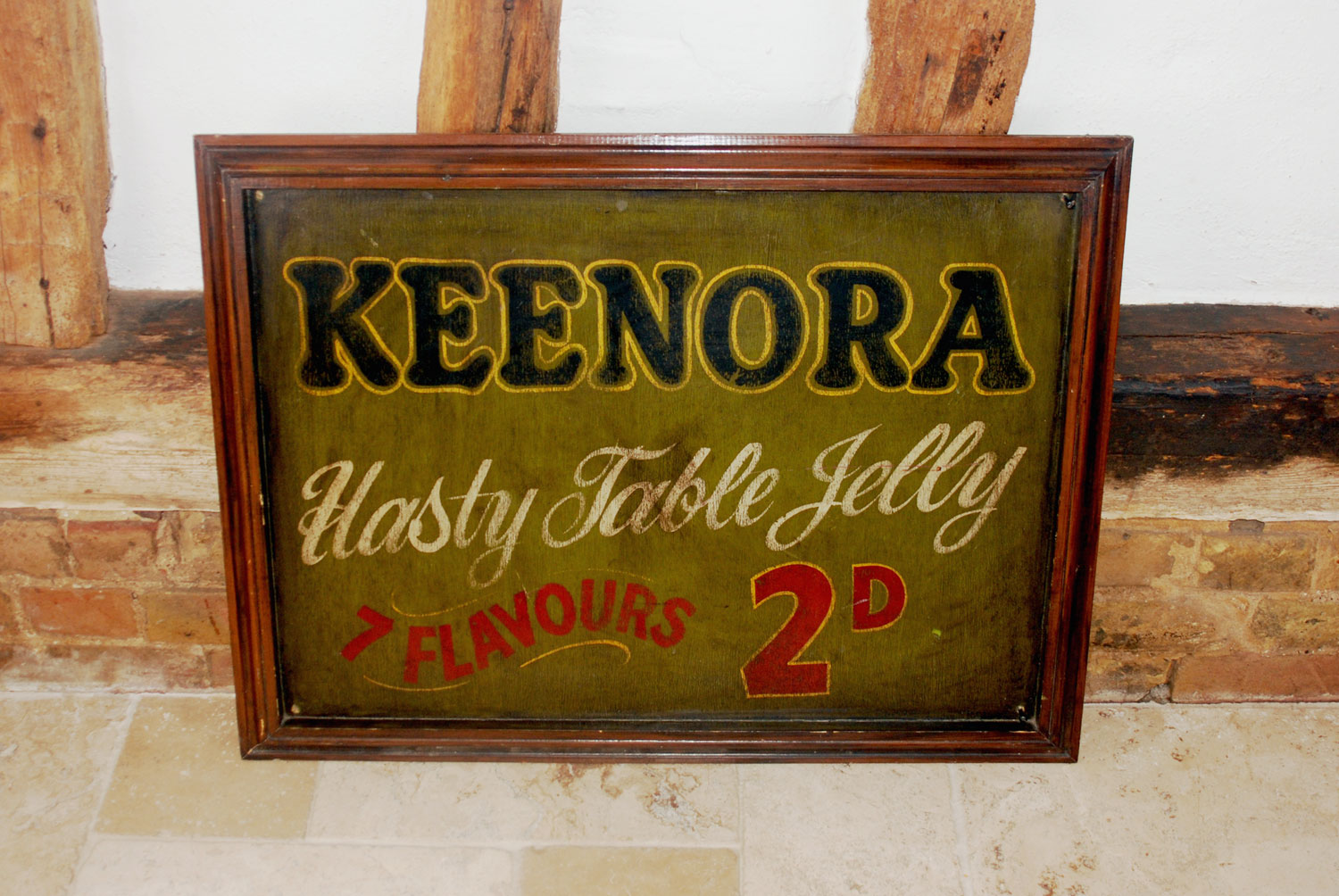antique edwardian grocers shop advertising large painted sign keenora jelly