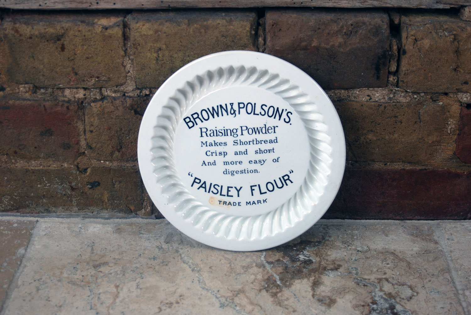 edwardian white ironstone english brown polson paisley flour advertising mold
