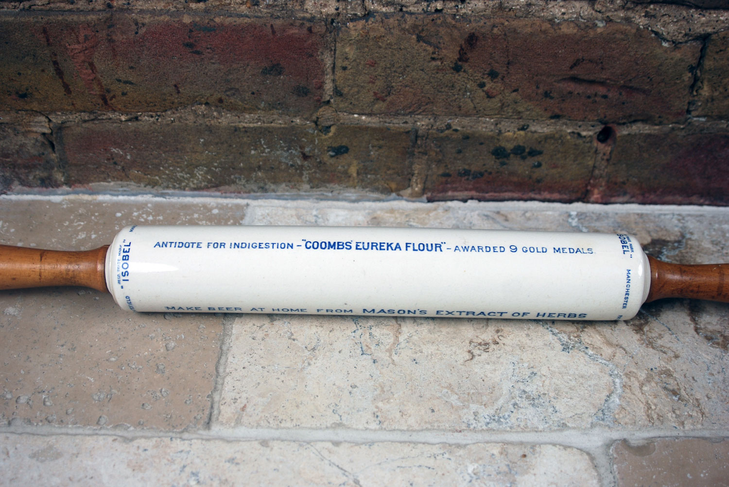 antique 1920s english advertising white ironstone ceramic isobels rolling pin