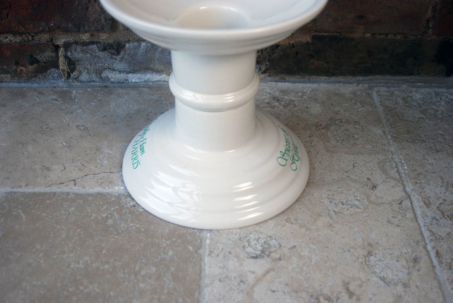 vintage mid century masons ironstone white ceramic harris ham stand butchers display