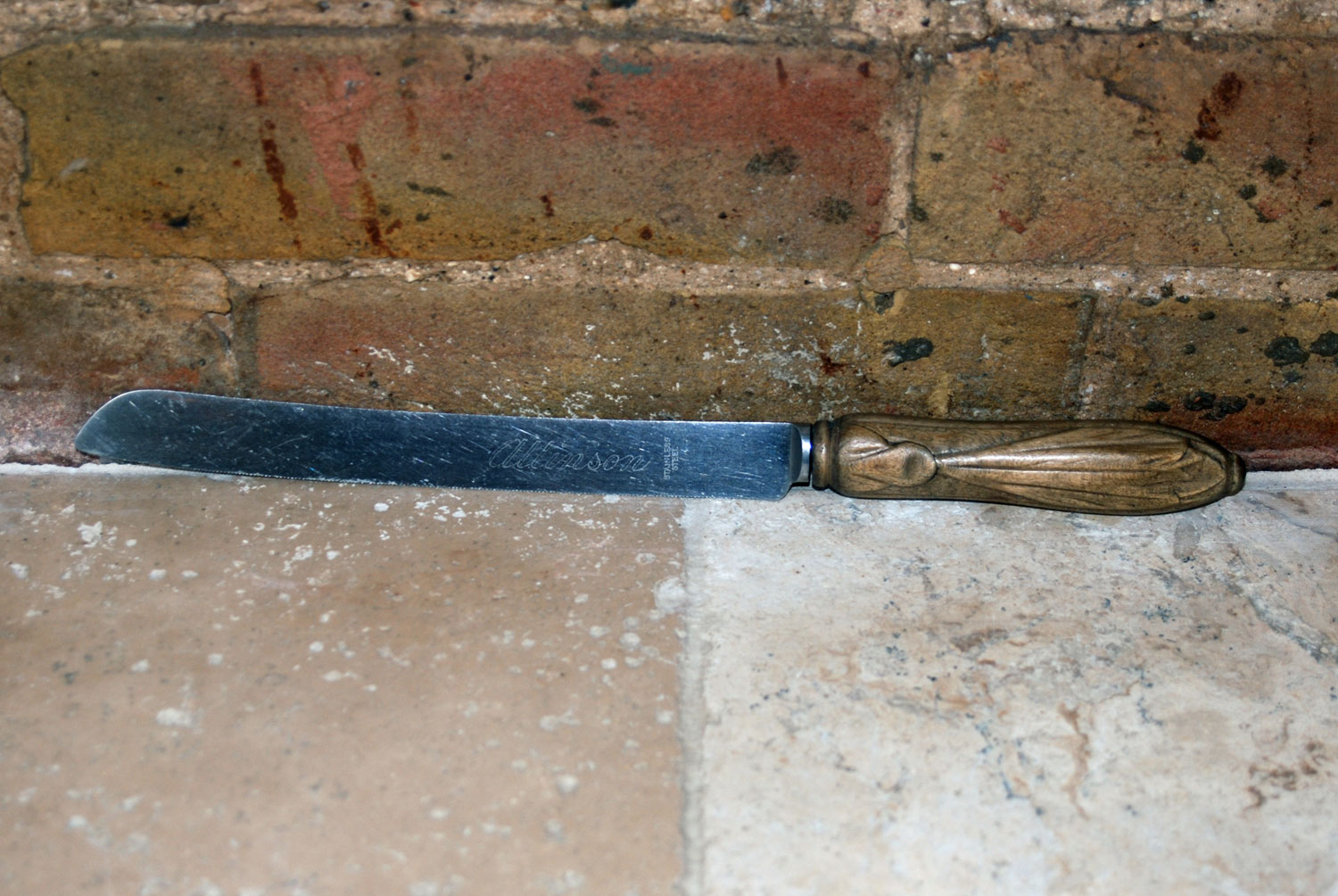 vintage deeply carved english treen wooden bread knife advertising allinson bread