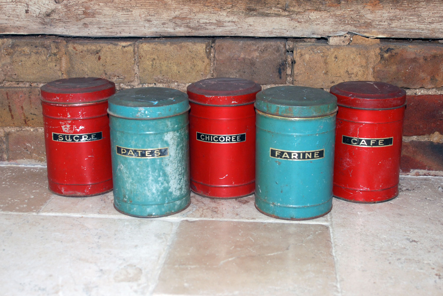 antique vintage french toleware tin kitchen storage jars