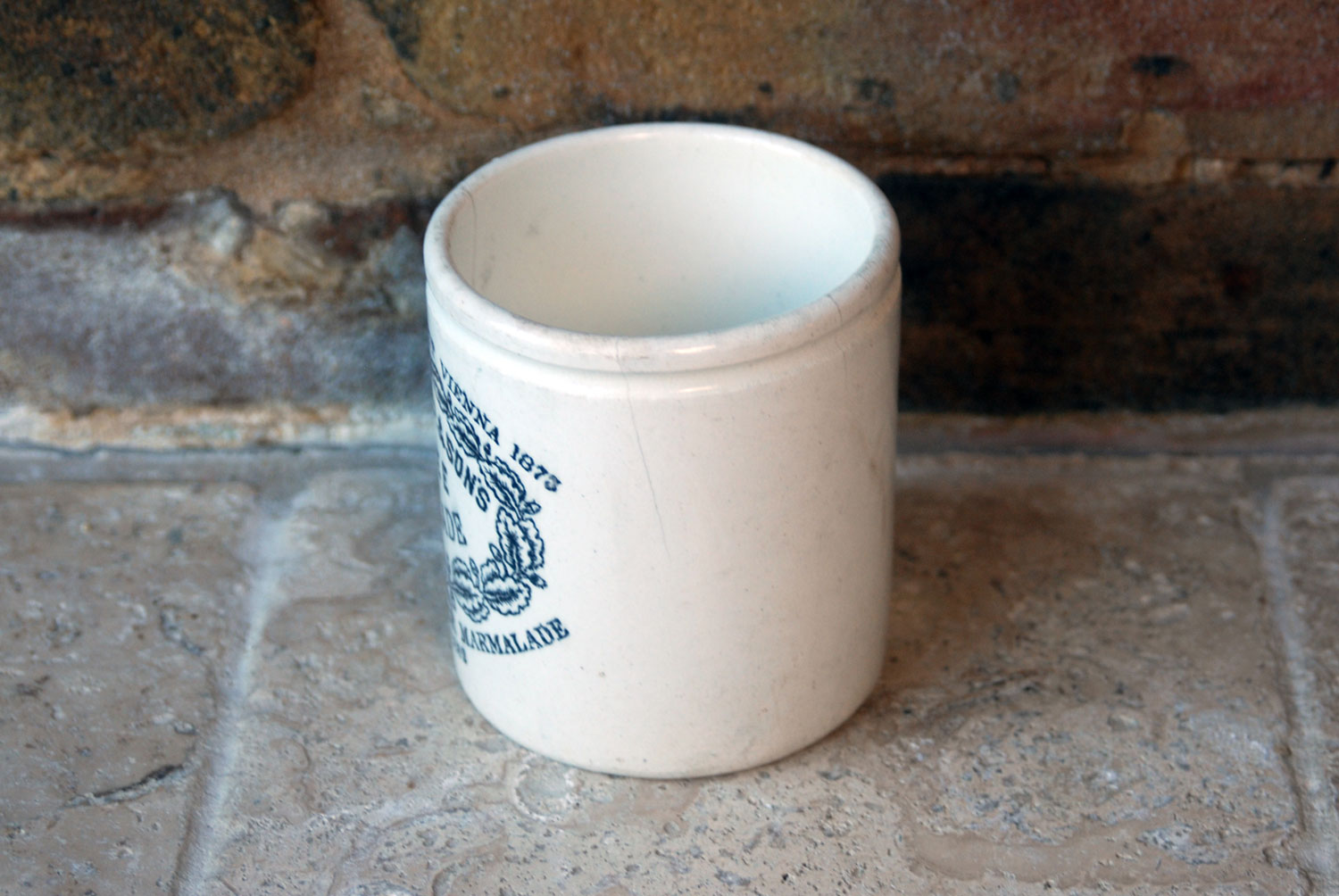 victorian edwardian chubby stumpy chunky james keiller dundee marmalade english antique advertising pot white ironstone