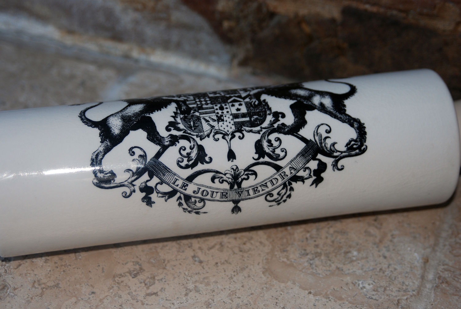 rare portmeirion vintage 1960s mid century modern white ironstone ceramic rolling pin black transfer print english earl of durham le jour viendra