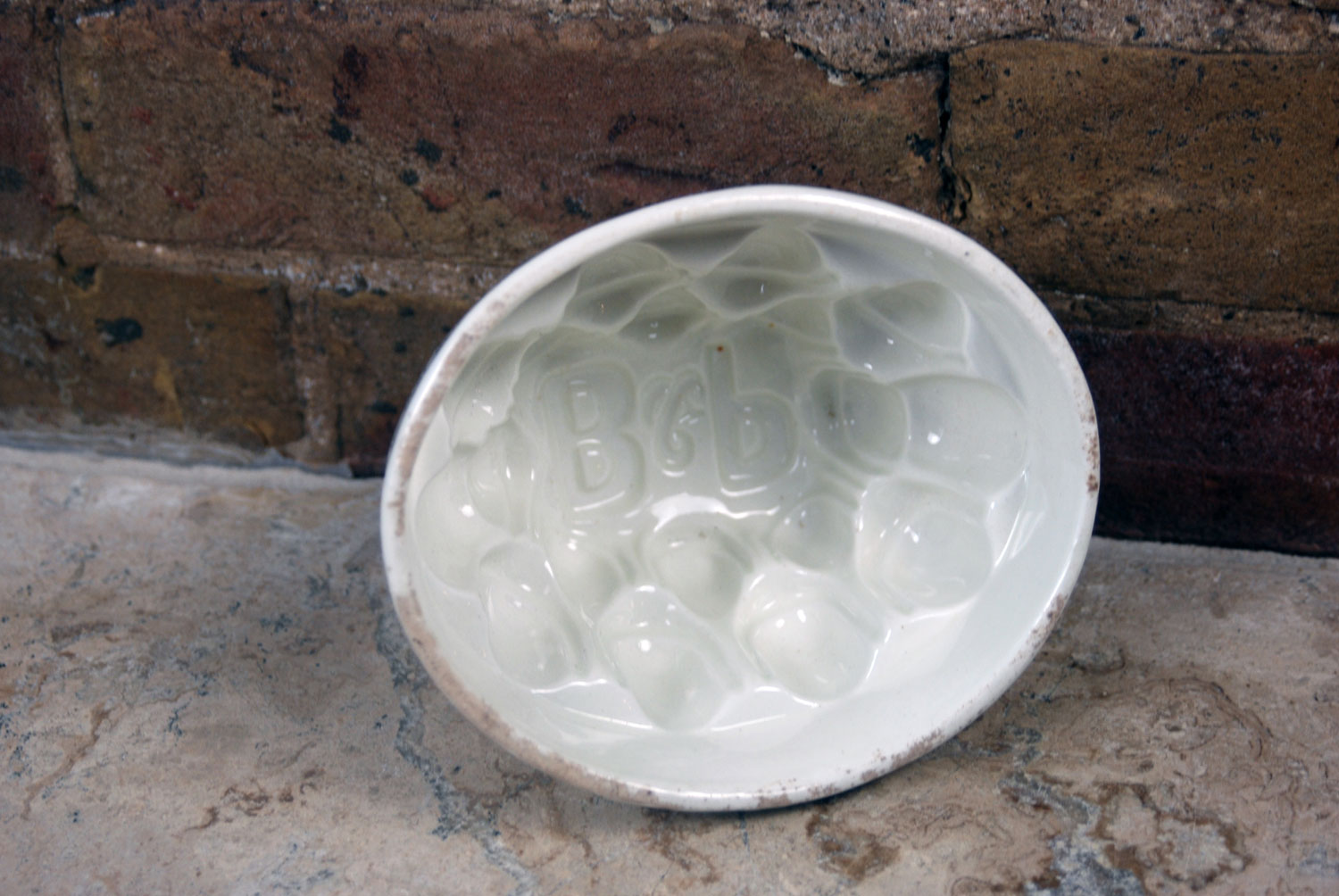antique white ironstone rare scarce brown polson corn flour blancmange jelly jello mould mold B P initials embossed inside