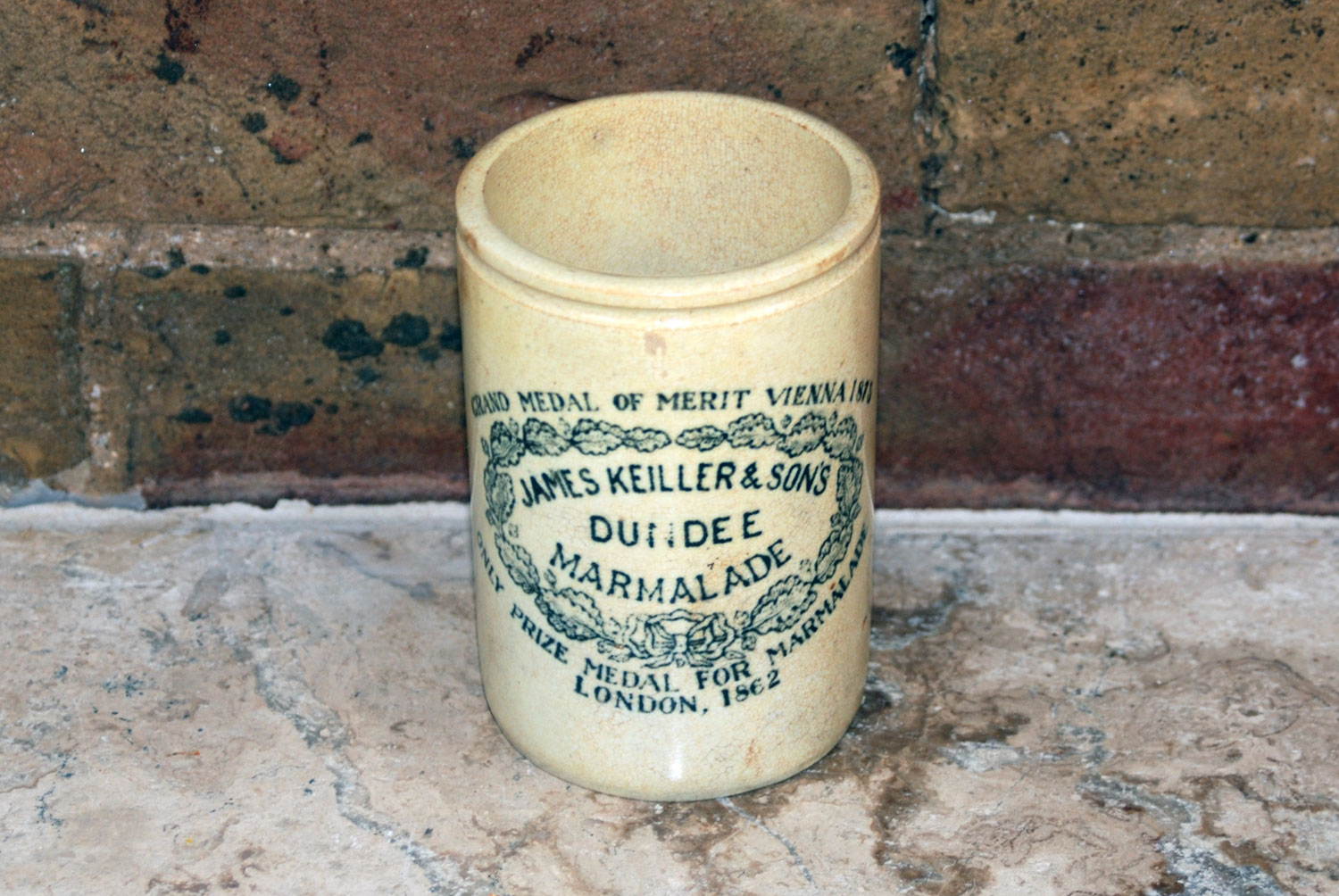antique victorian 1lb james keiller dundee marmalade white ironstone english advertising pot
