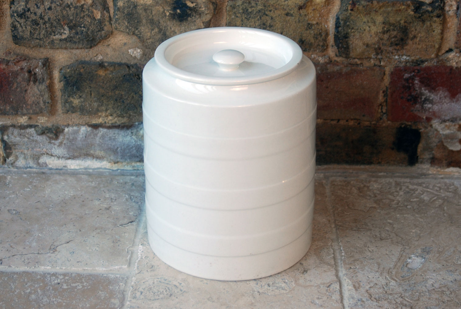 antique edwardian white ironstone large banded barley grimwades large storage jar