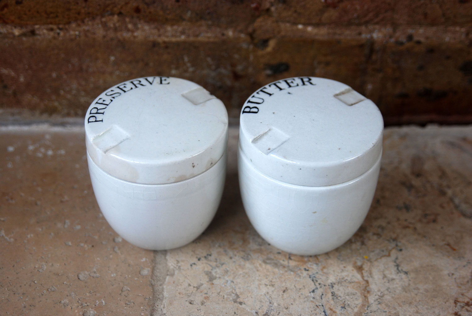 edwardian antique white ironstone coracle butter preserve pots