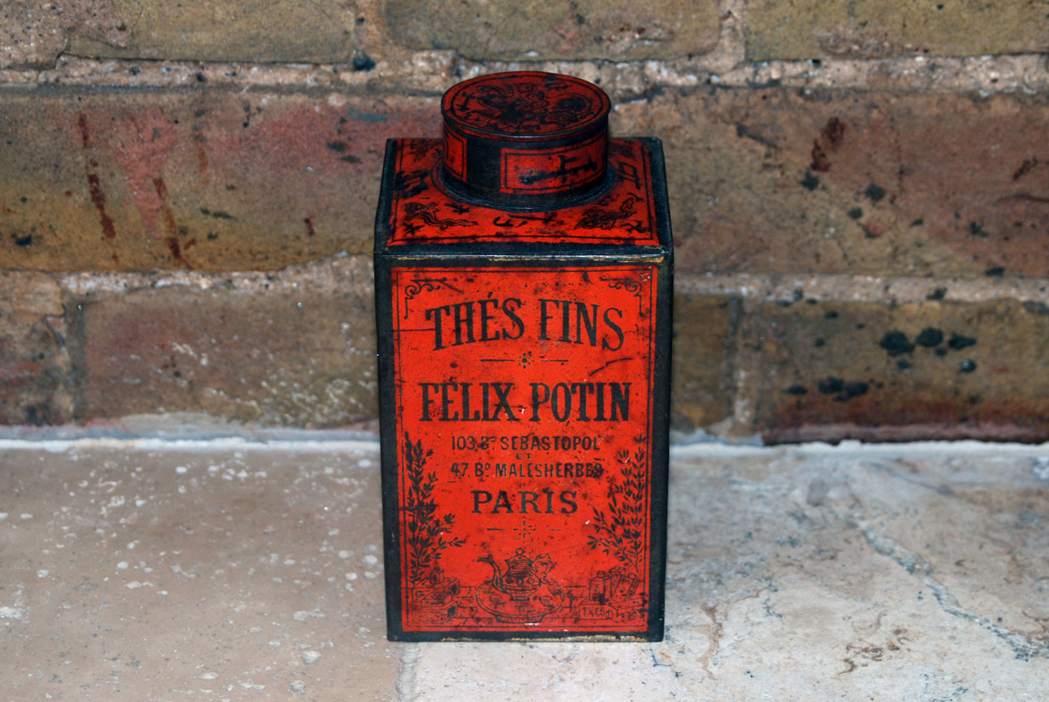antique vintage felix potin tea caddy toleware tin thes fins french brocante