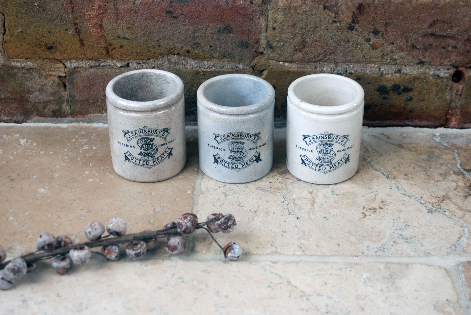 Antique Victorian large J Sainisburys paste pots english advertising white ironstone crocks