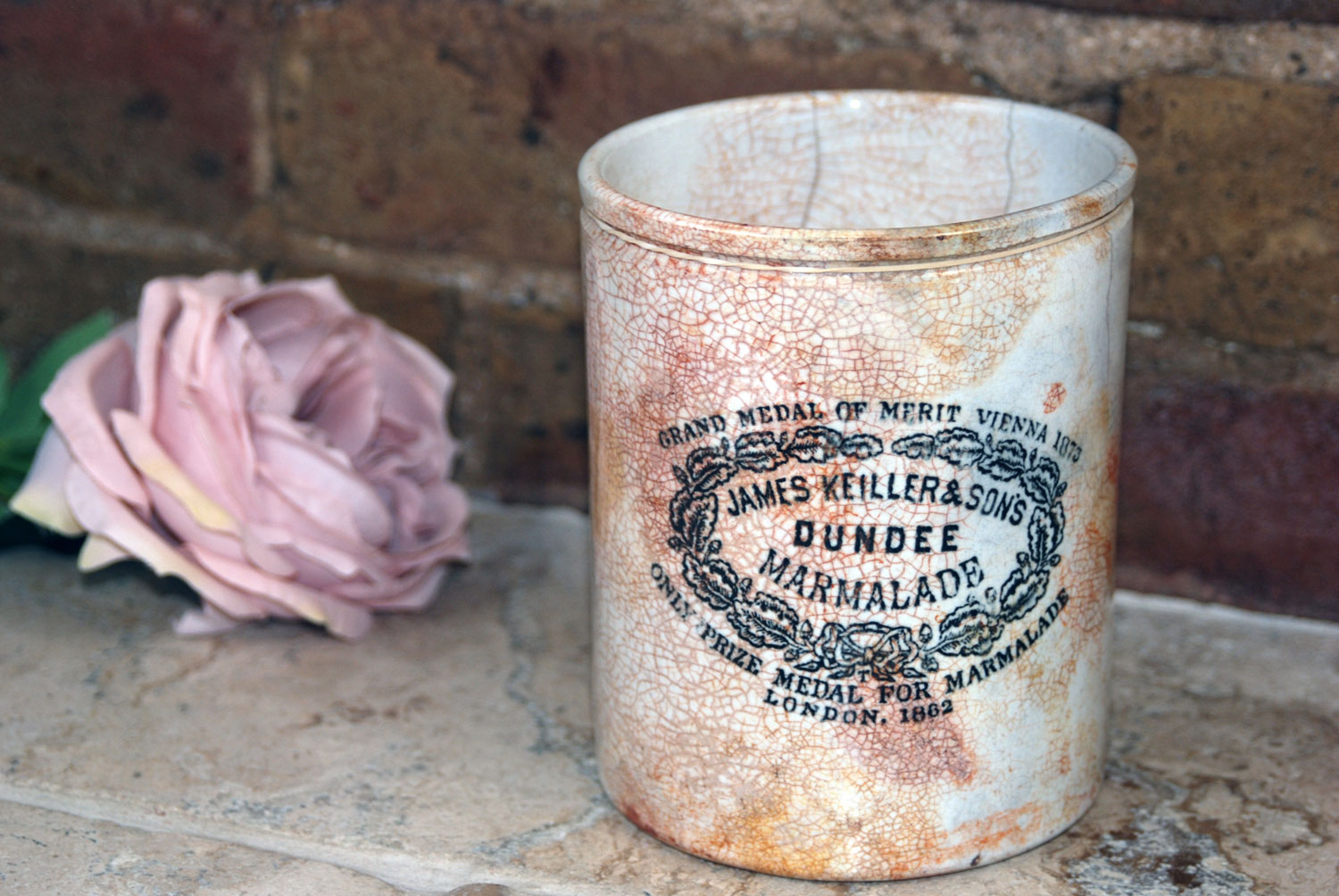 antique victorian large giant 3 three pound lb james keiller dundee marmalade english advertising pot crock white ironstone