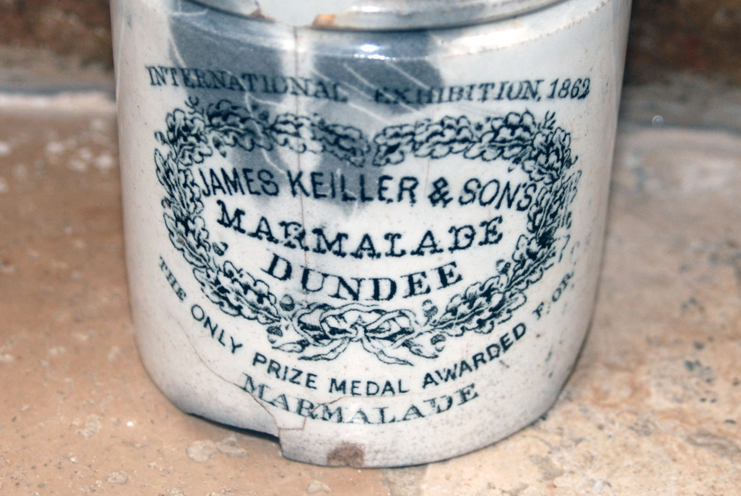antique victorian rare chubby one pound 1860s james keiller dundee marmalade english advertising pot crock jar