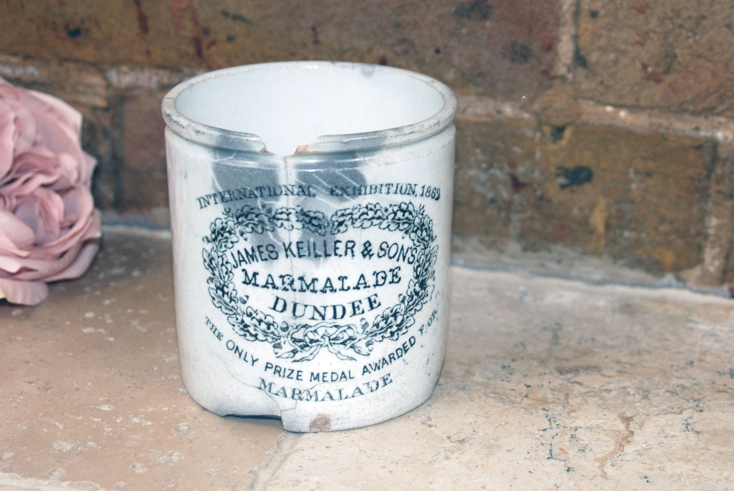 rare victorian 1860s white ironstone 1 pound chubby james keiller dundee marmalade english advertising pot crock