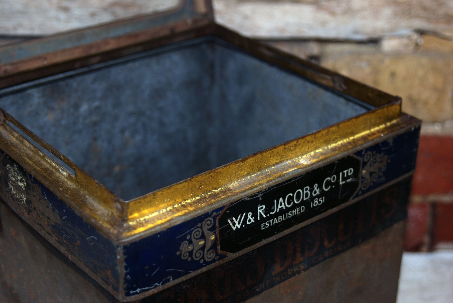 antique edwardian jacobs crackers grocers shop tin