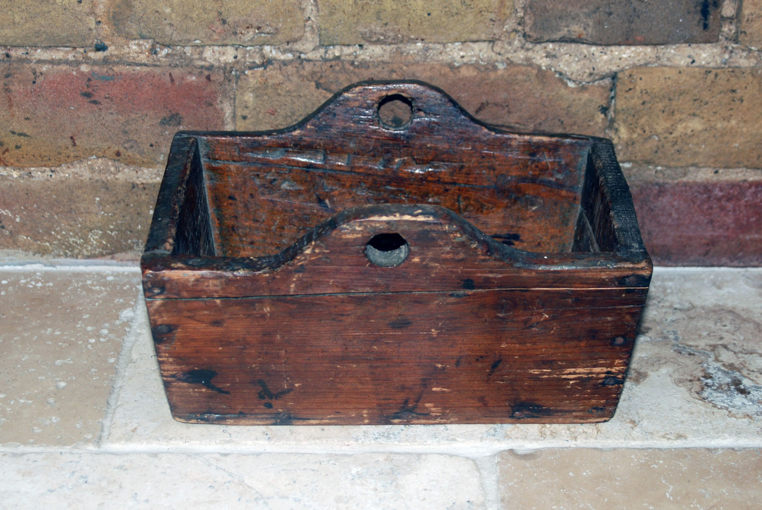 antique french brocante wooden basket box housemaid tidy fruit picking bag vegetable brocante rustic wood