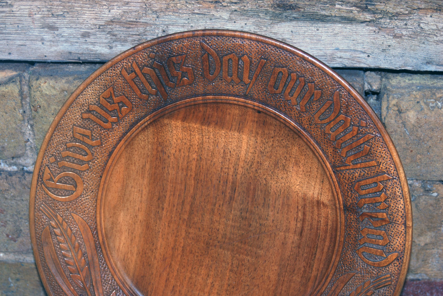 Vintage mid century carved antique english bread board platter plate give us this day our daily bread motto black forest style