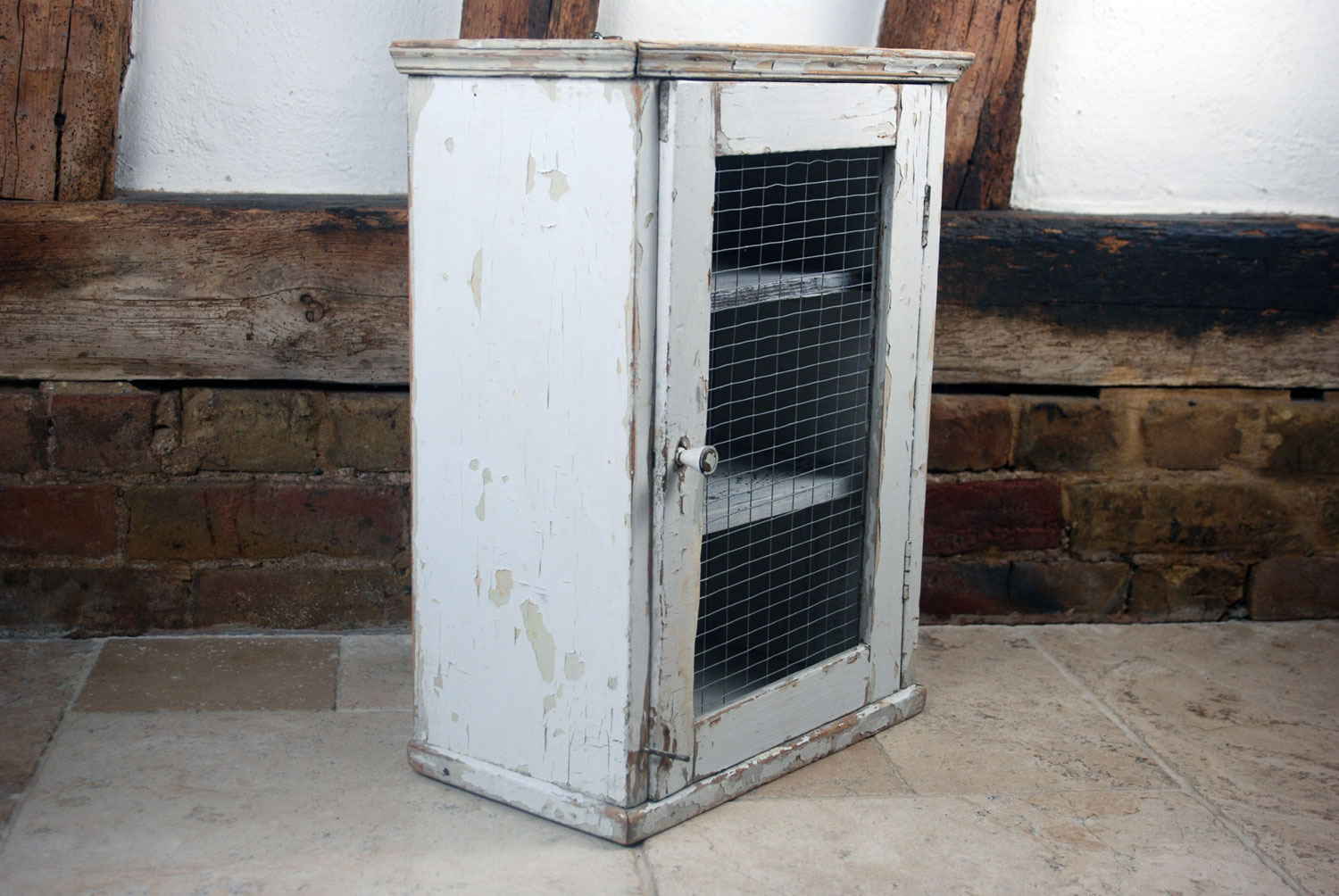 vintage rustic primitive pine meat safe early 20th century chippy weathered white paint wire mesh kitchen larder cupboard display cabinet