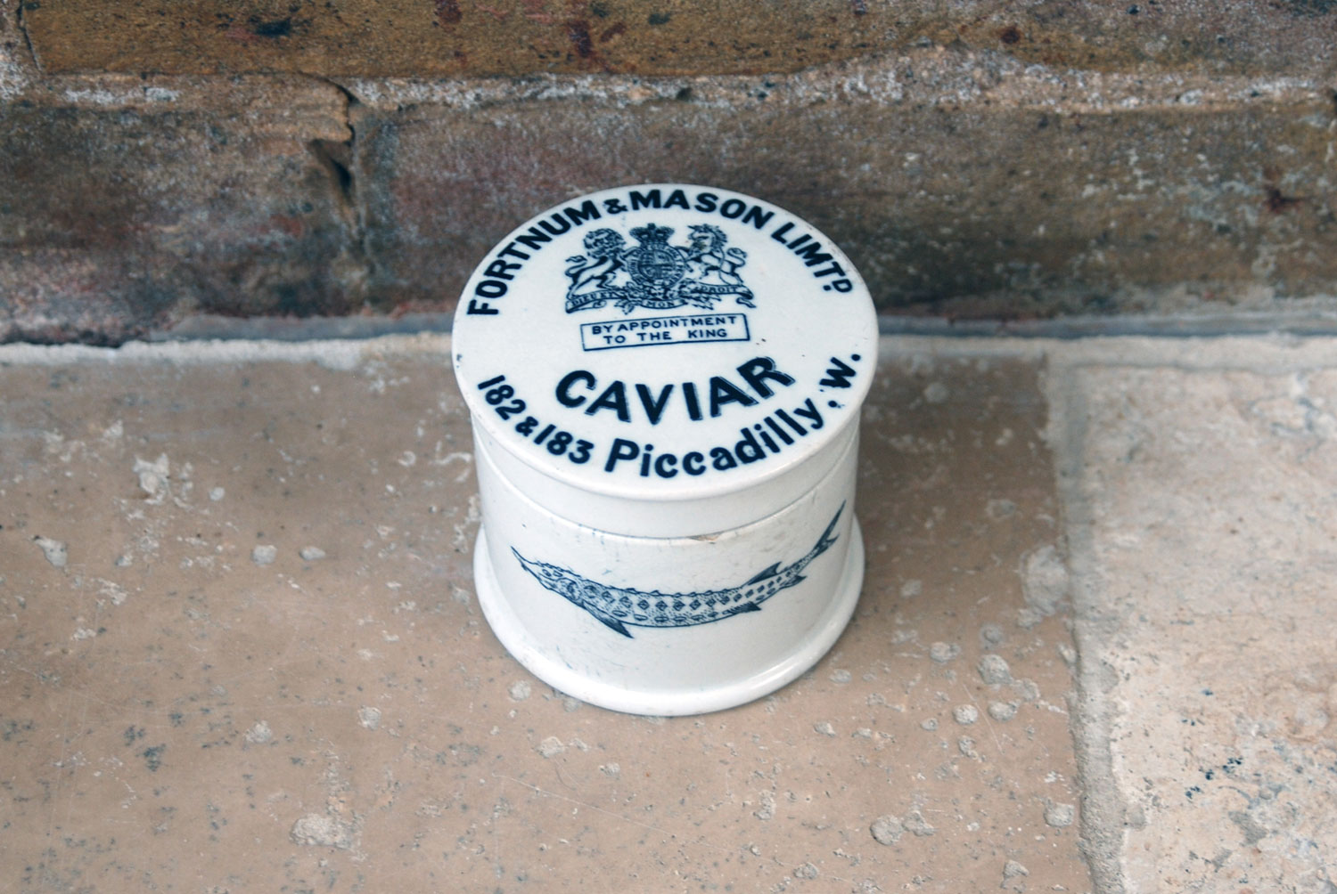 antique edwardian fortnum mason white ironstone caviar pot sturgeon transfer