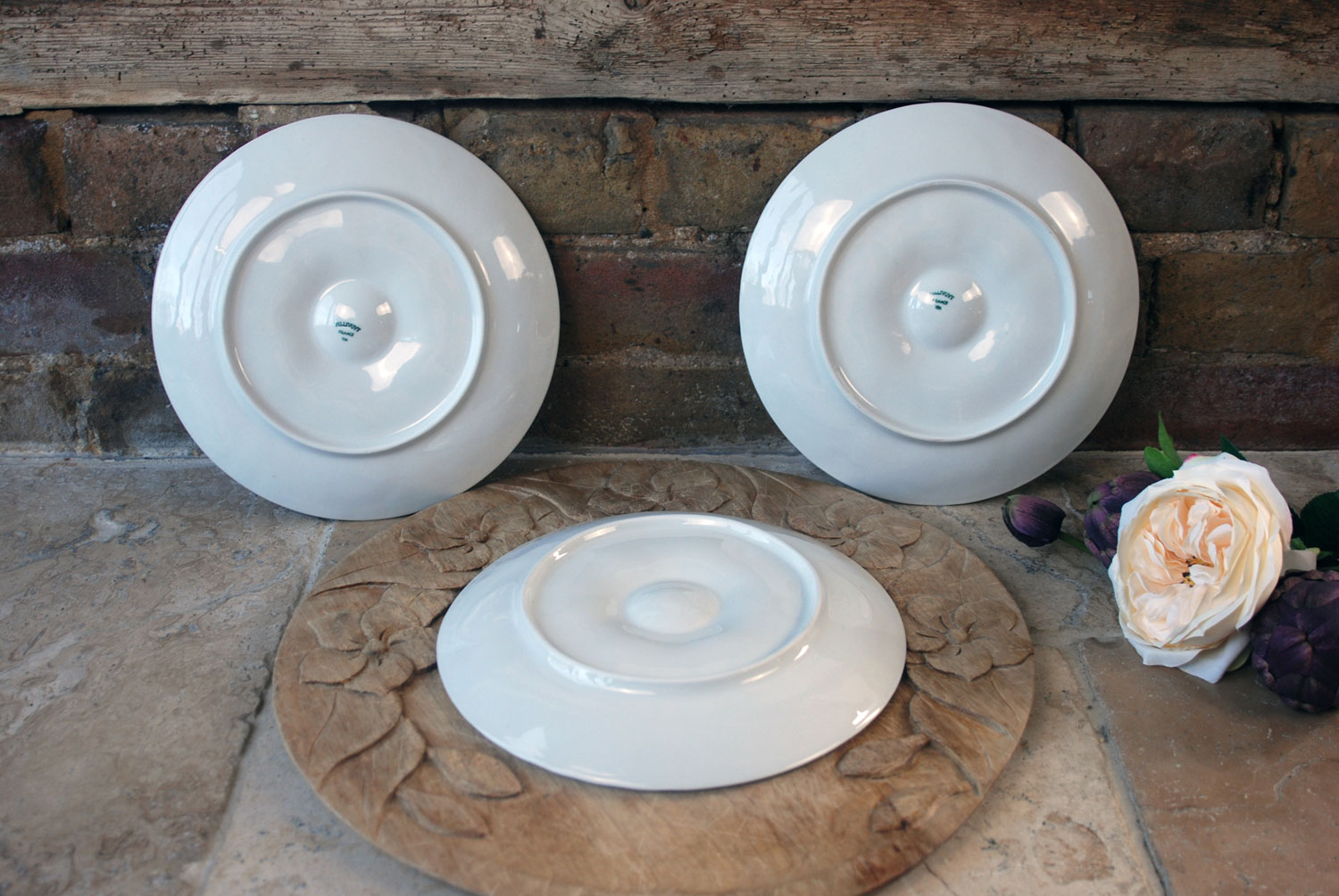antique white ironstone french le pillyvut whiteware plain ceramic oyster plates