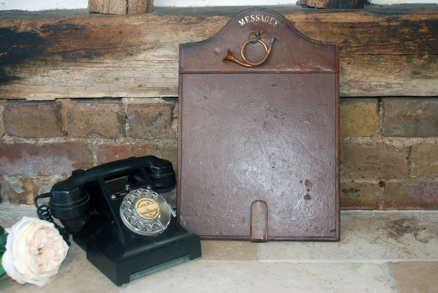 1930s vintage leather office messages noticeboard board copper horn