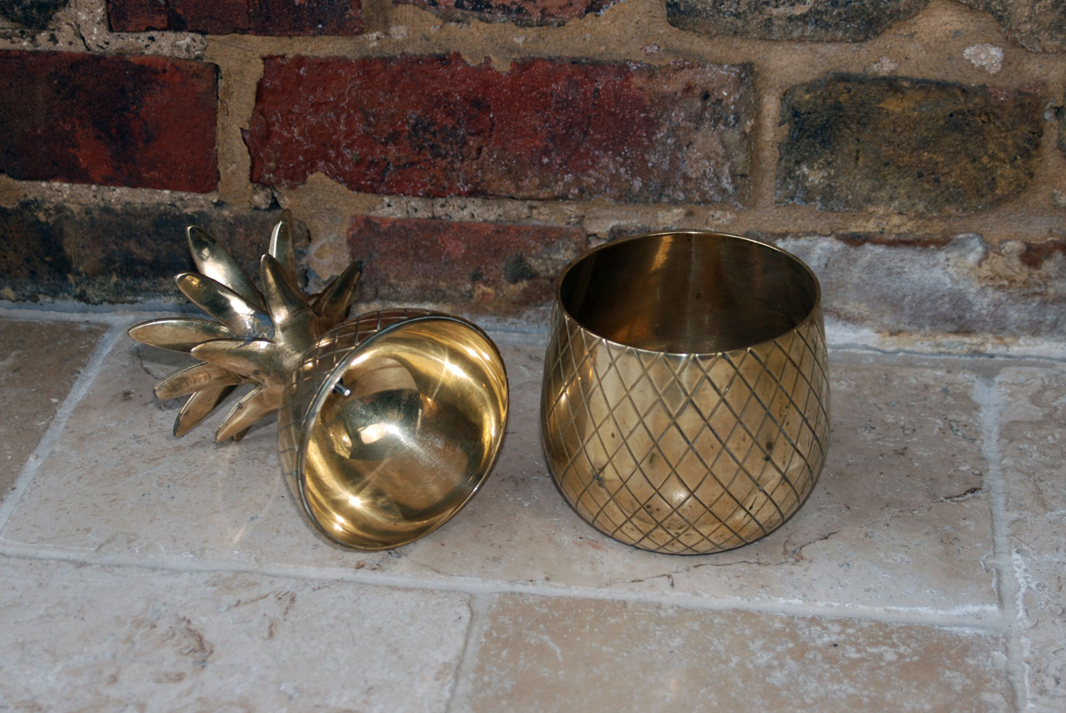 vintage 1960s mid century retro large brass pineapple ice bucket hollywood regency style