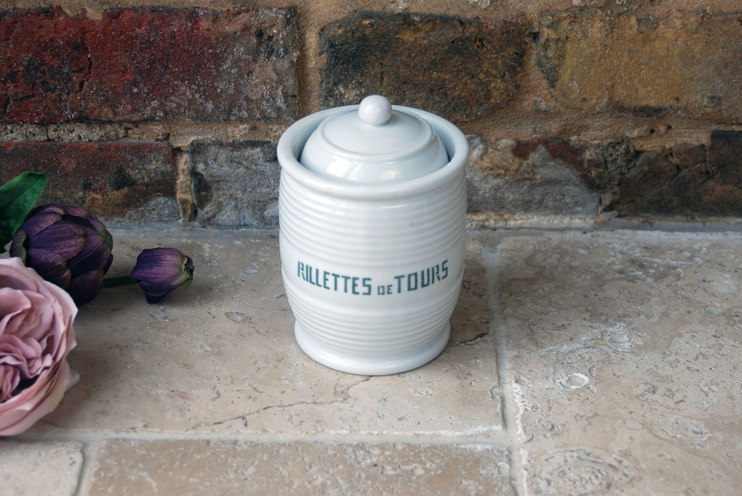 antique vintage french white ironstone banded storage jar rillettes tours