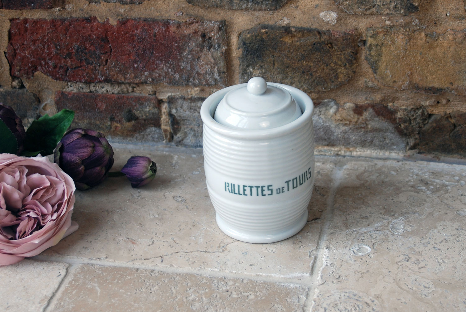 vintage french white ironstone banded kitchen storage jar rillettes de tours
