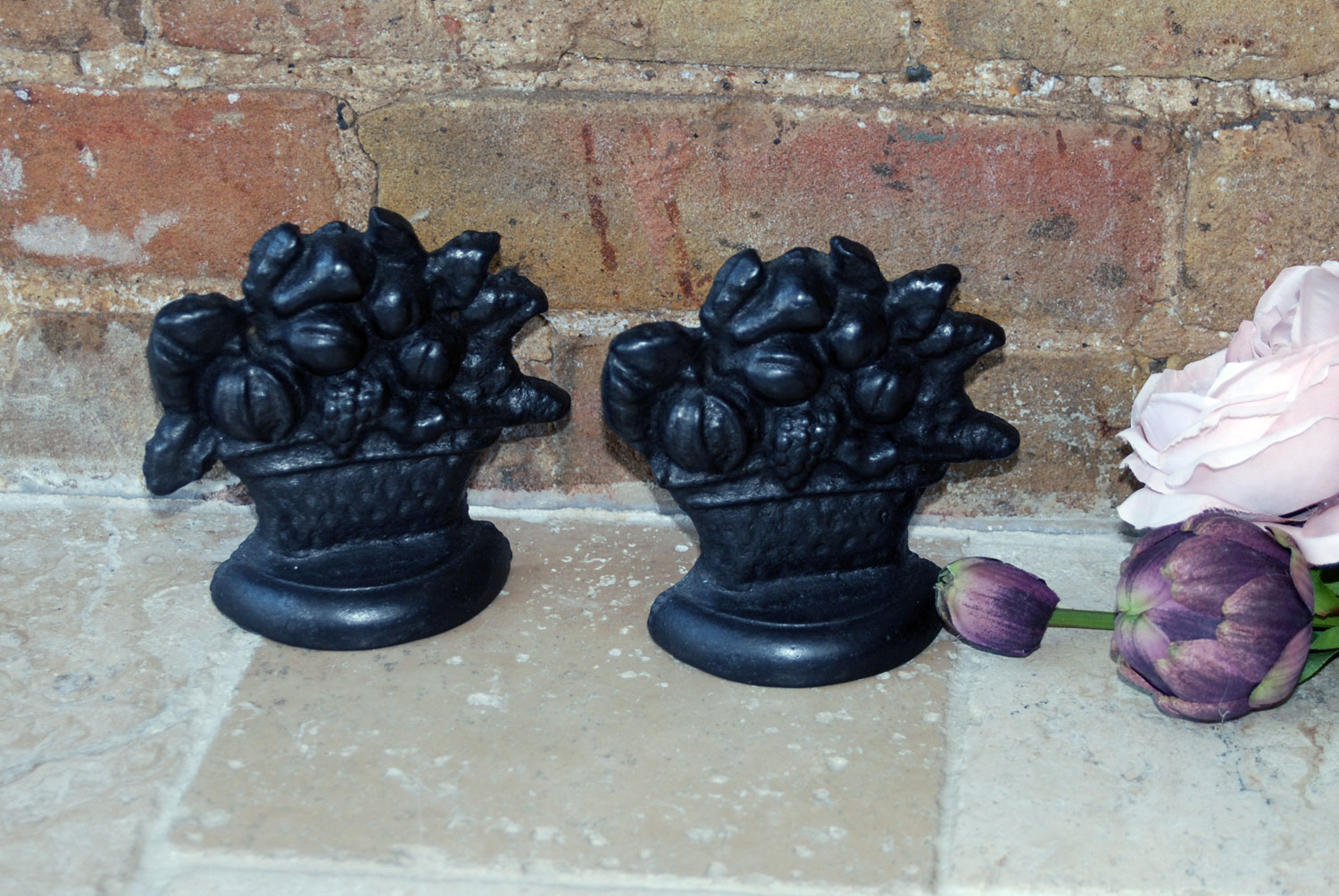 antique vintage cast iron early 20th century doorstops fruit bowl design
