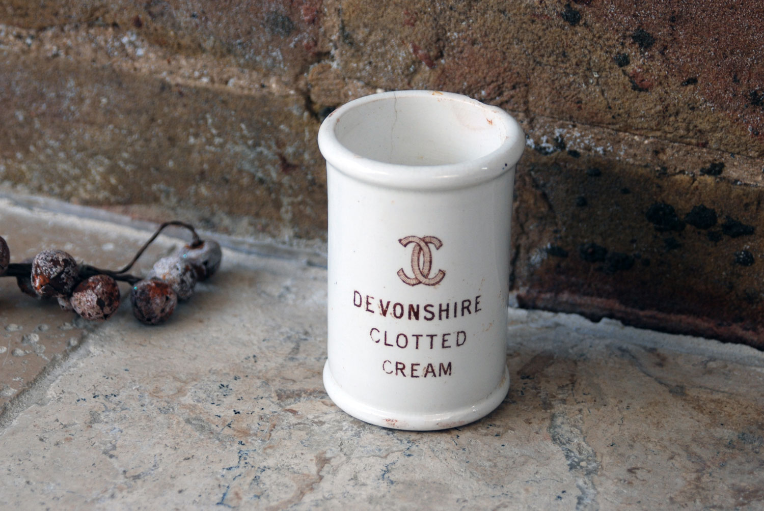 antique victorian white ironstone english advertising pot devonshire clotted cream dairy supply company london