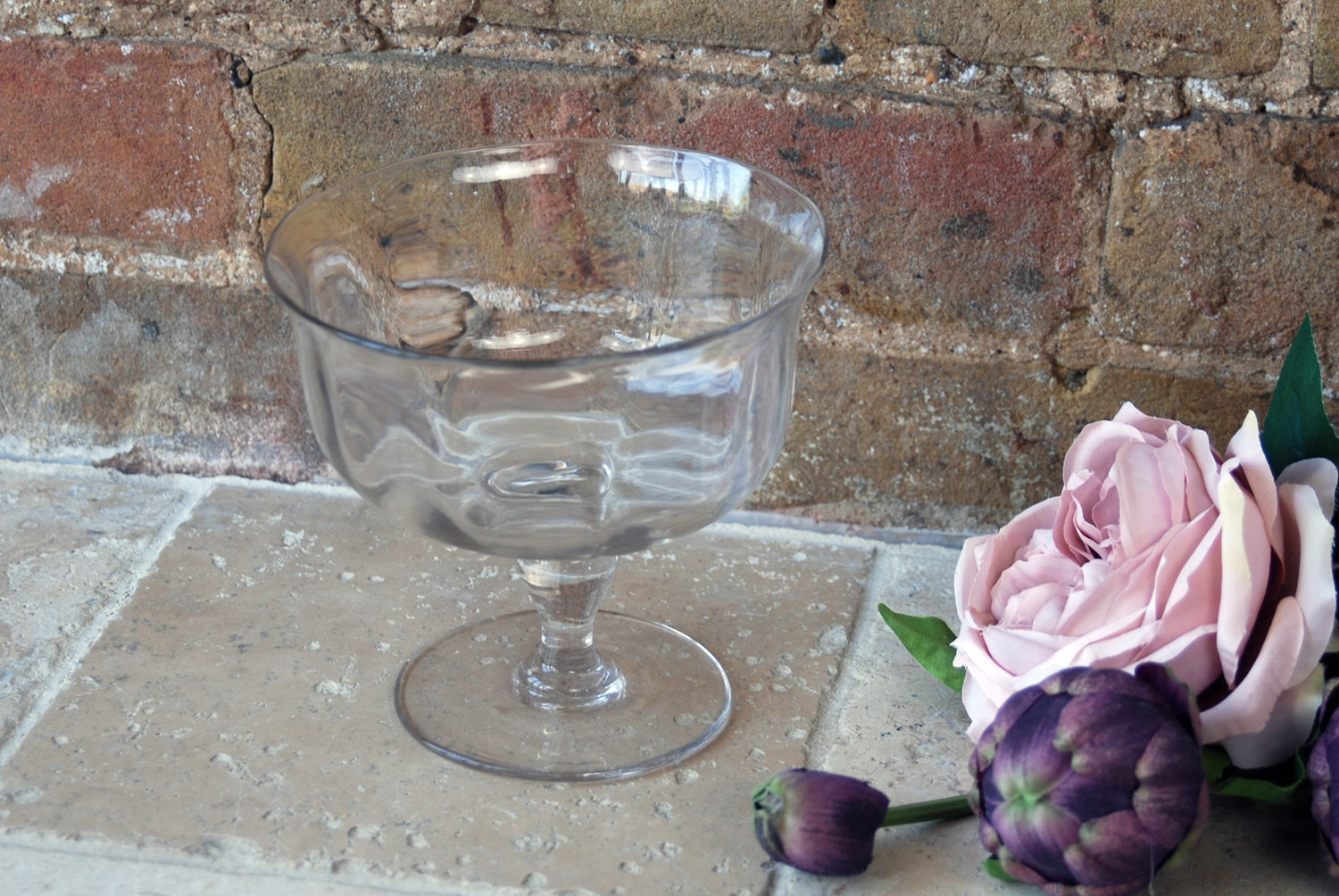 antique victorian hand blown glass compote bowl sweetmeats compotier