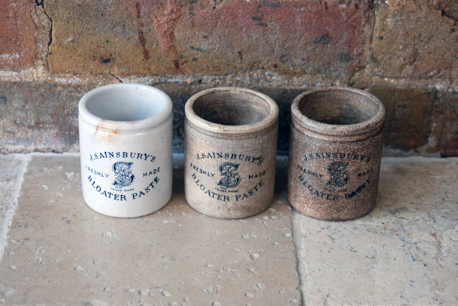 antique victorian rare white ironstone tall large sainsbury bloater paste advertising crocks pots