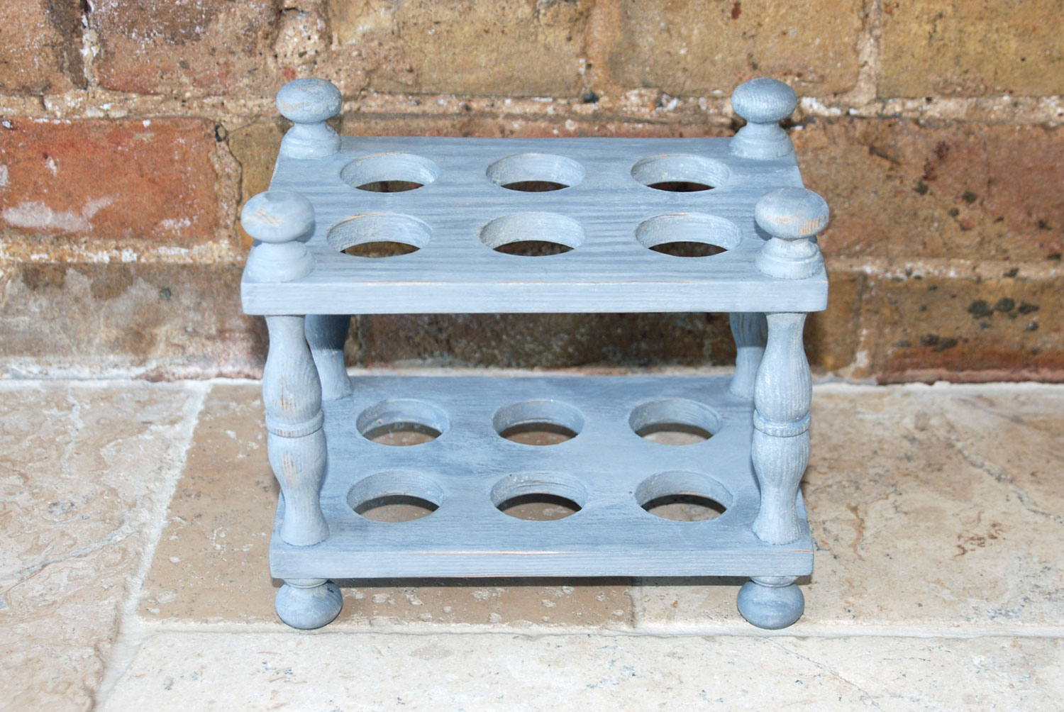 antique victorian treen wooden two tiered egg rack one dozen 12 eggs painted grey shabby chic