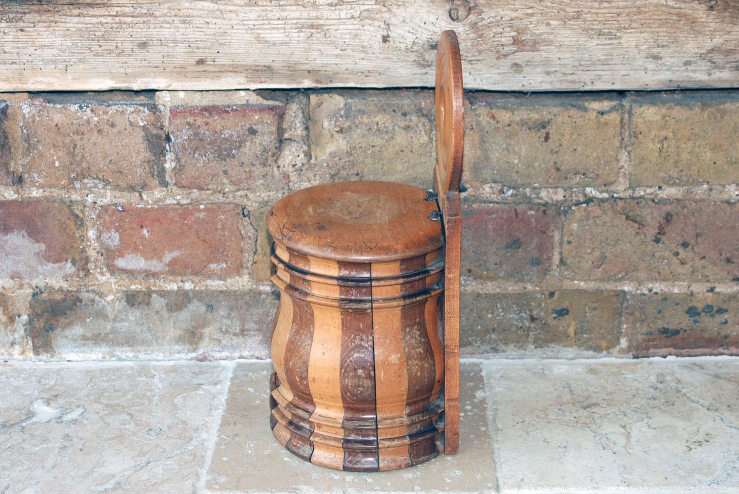 scottish georgian victorian 19th century turned wooden mahogany boxwood treen wall mounted salt box