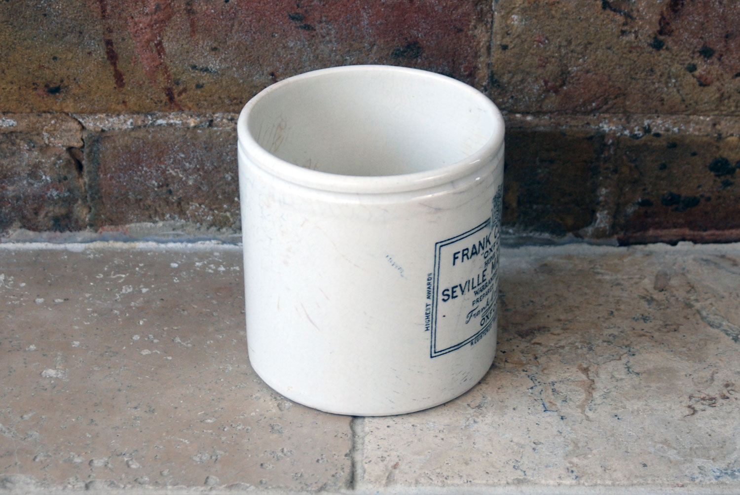 antique victorian white ironstone english advertising pot frank cooper marmalade rare 2 pound large chubby pot
