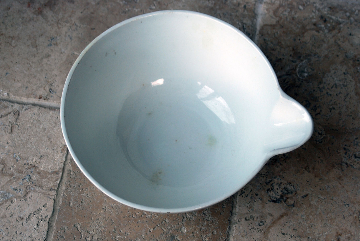 antique french white ironstone large dairy bowl mixing pouring spout