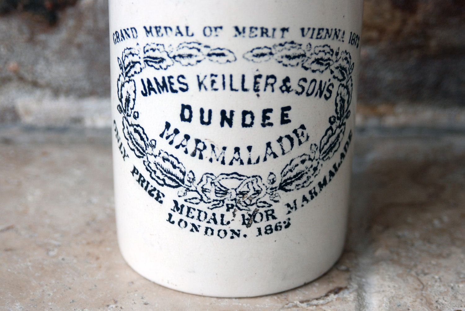 victorian white ironstone antique english advertising pot james keiller dundee marmalade crock 1 pound 1#
