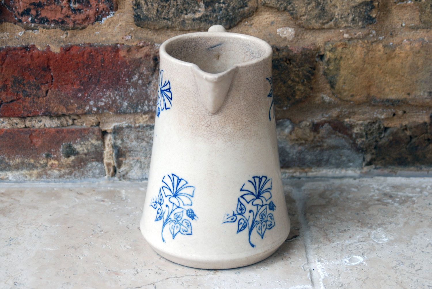 antique french ironstone stoneware french jug 19th century brocante floral decoration