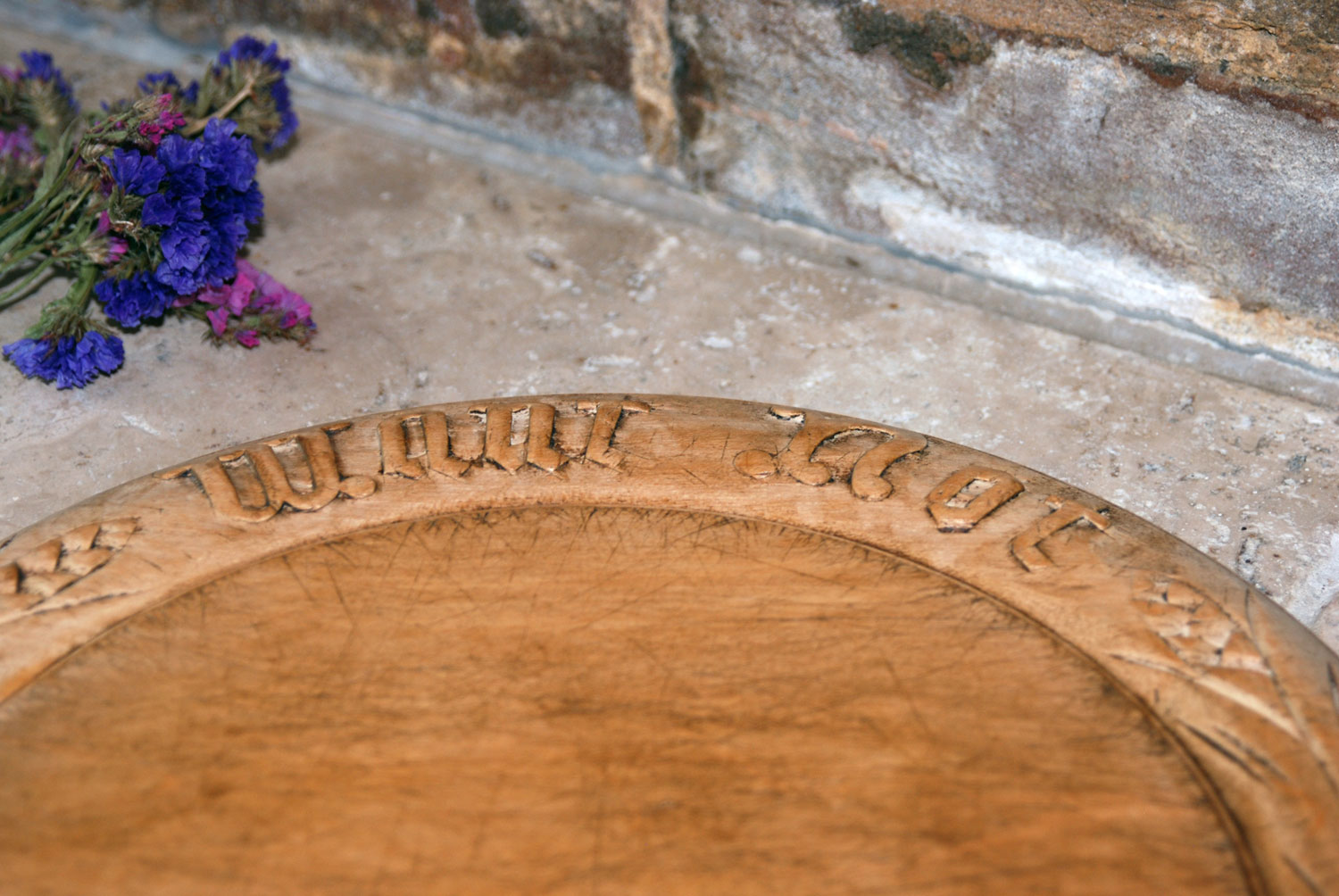 antique 19th century victorian carved english breadboard want not motto