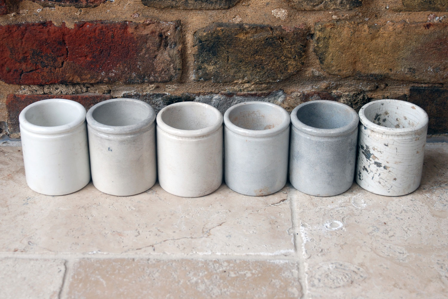 antique victorian white ironstone english advertising pots large j sainsburys potted meat