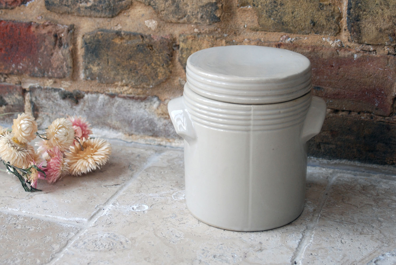 antique vintage french stoneware lidded confit pot preserve jar grey beige neutral decor