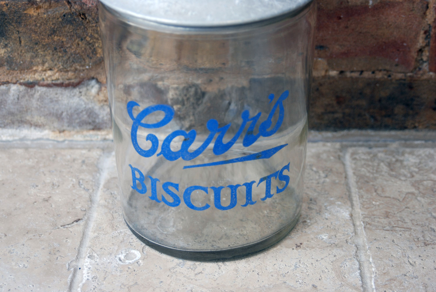 antique 1930s english shop advertising glass display jar carrs biscuits