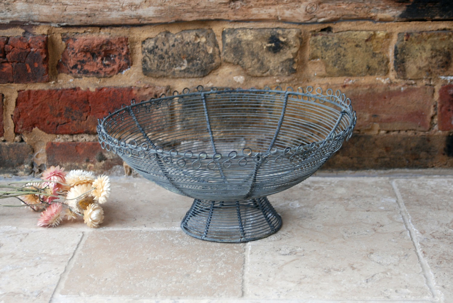 vintage 1950s french large wirework bowl bread or fruit basket trinkets in original deep grey paint