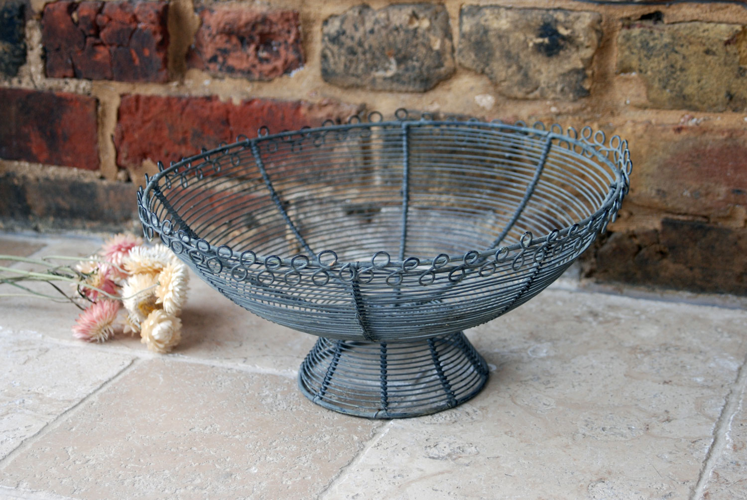 mid century vintage french large wirework basket bowl fruit trinkets bread