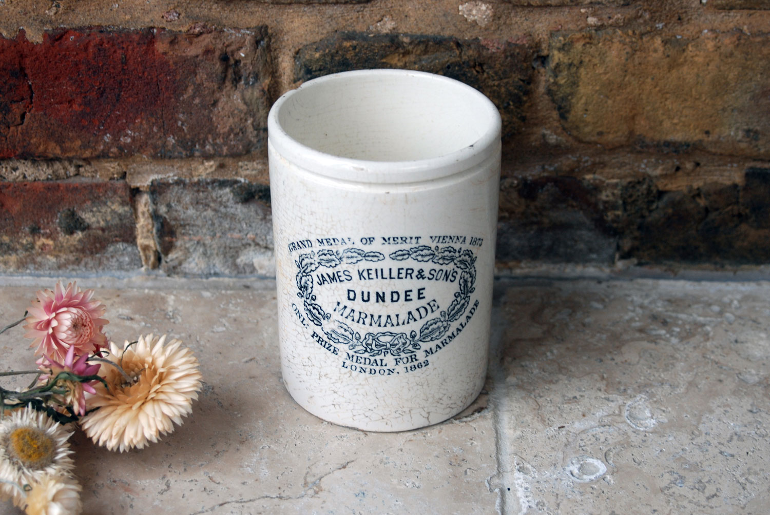 antique victorian white ironstone english scottsh advertising pot large tall slim two pound james keiller dundee marmalade crock