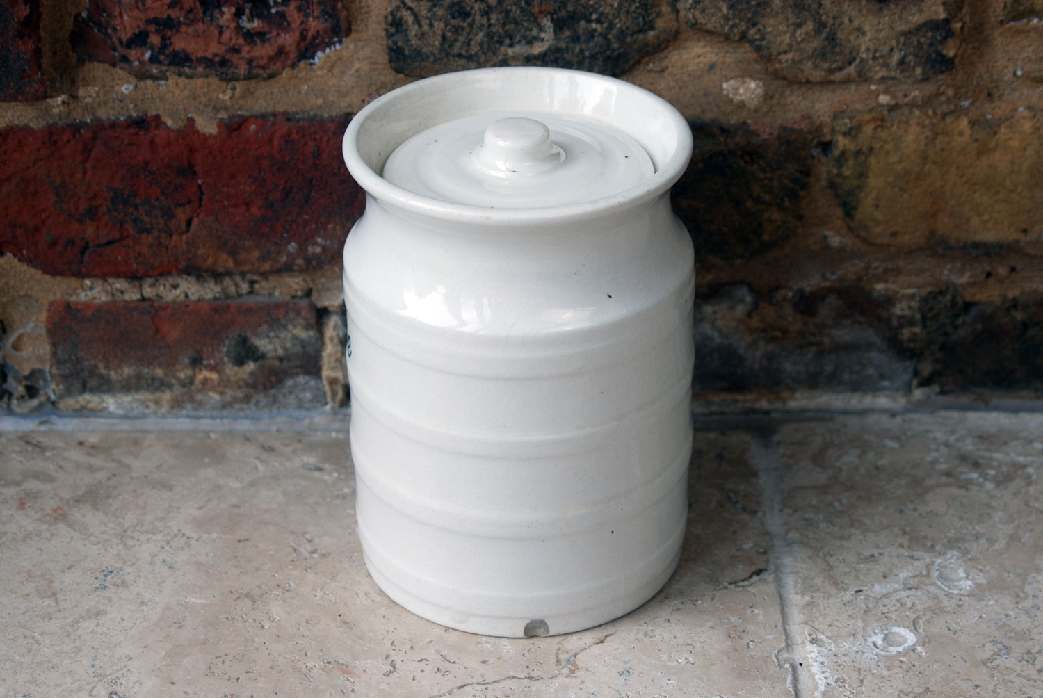 antique victorian banded ribbed white ironstone kitchen storage jar rice